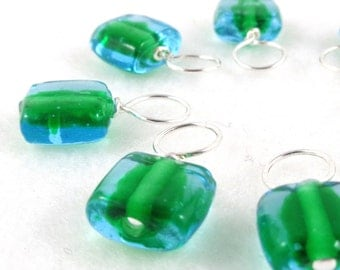 ONLY SET Snag-Free Stitch Markers for Knitting or Crochet, Seaweed, Choose Your Size, Set of 8, Customizable with Removable Hooks or Rings