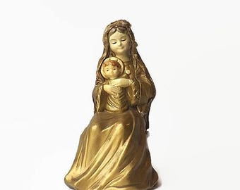 Schmid Madonna & Child, Paper Mache Virgin Mary and Baby Jesus, Vintage Christmas Decoration, Religious Christian Catholic Icon