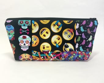Sugar Skulls Cosmetic Pouch, Emoji Make Up Bag, Owls and Birds, Black Make Up Pouch