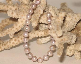 Pink Pearl & Sterling Bracelet