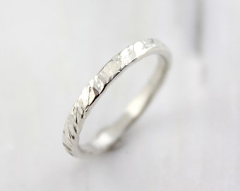 Choppy Waters Hammered Silver Band Ring