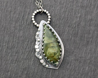RESERVED...Morrisonite and Sterling Silver Necklace Oxidized Silver Pebble Jewelry