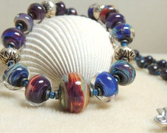 BREATHTAKING BLUE BOROS Handmade Lampwork Bead Necklace