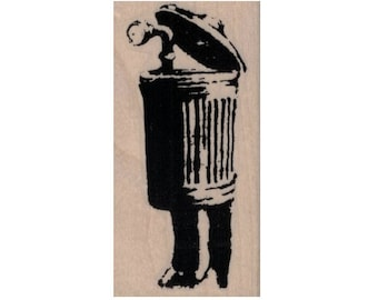 Rubber stamp Banksy   Trash Can Periscope Guy    Anarchist   stamping graffiti outsider art play  craft supplies number  20072