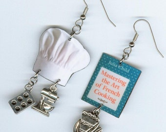 Chef's cookbook cooks earrings - vintage cook book chefs hat  - pie mixer muffin cupcake tin charms - chef's gift - cooking jewelry
