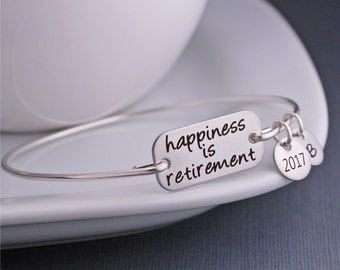 Teacher Retirement Gift, Silver or Gold Happiness is Retirement Bangle Bracelet, Education Retirement Jewelry