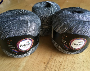 Palette Collection - ribbon yarn, series 029/219 color 1/Black Silver, 2 full balls and 1 partial ball, destash