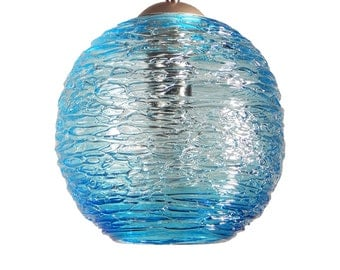 Aqua Spun Hand Blown Glass Pendant Hanging Lights  by Rebecca Zhukov