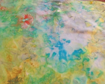Hand dyed fabric. Fat quarter fabric. Cotton hand dyed fabric. Lily pond hand dyed fabric.