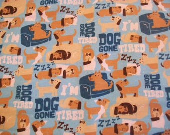 Dog Gone Tired - Snuggle Cotton Flannel Fabric  BTY  Sleeping Puppy Dogs on Blue