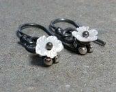 Tiny Flower Earrings Shell Mother of Pearl Earrings Petite Minimalist Oxidized Sterling Silver Earrings