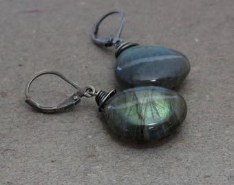 Labradorite Earrings Blue Green Flash Leverback Oxidized Sterling Silver Earrings Lever Back