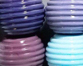 Ribbed Rainbow Big(ish) Balls --Handmade Lampwork Beads