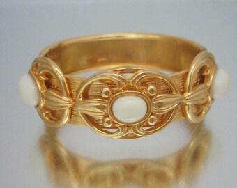 Decorative Gold Tone White Cabochon Bracelet