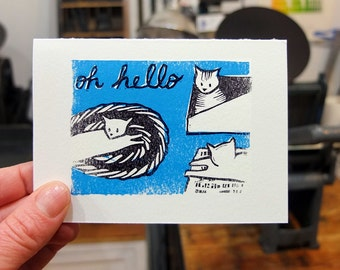 Oh Hello Cats linocut letterpress Card