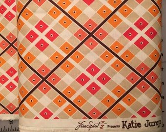 Katie Jump Rope Geranium Diamond Plaid and Dot Cotton Fabric by the yard shereesalchemy