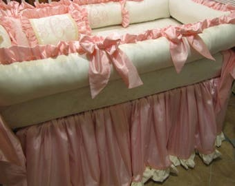 Crib Set Baby Bedding In Blush Pink and  Ivory Damask  for Stafanie P. only 1st payment of 2