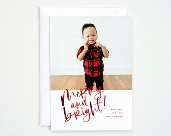 25 Semi-Custom Holiday Card | Merry and Bright with Full Frame or White Bordered Image