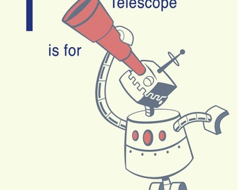 Robot Alphabet Print - T is for Telescope