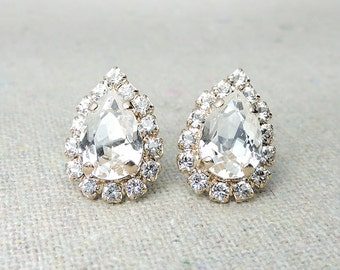 Swarovski Crystal Faux Diamond Pave Halo Pear Post Earrings Rose Gold Earrings Bridal Jewelry Wedding Earrings Bridesmaids Gifts