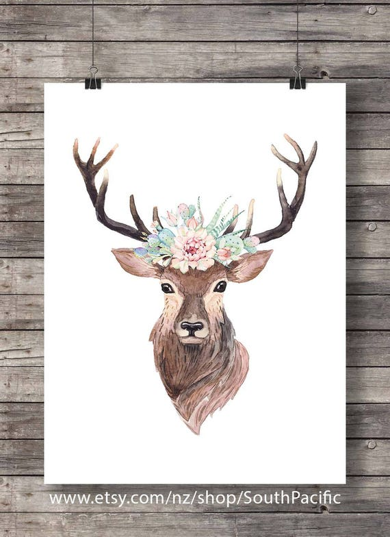 deer stag antlers watercolor succulents and cacti crown cactus. Black Bedroom Furniture Sets. Home Design Ideas