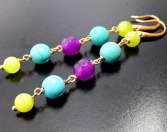 Jade Earrings, Turquoise Earrings, Colorful Stone Earrings, Long Gemstone Dangles, Lime and Fuchsia
