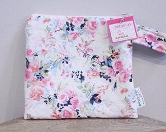 wetbag wet bag The ICKY Bag petite cosmetic pink floral baby gift waterproof gym sports cloth diaper pouch zipper snap handle baby gift gear