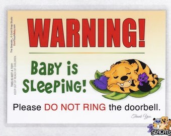 Do Not Ring the Door Bell, Baby is Sleeping Sign, The Seacats Signs for Baby and Toddler