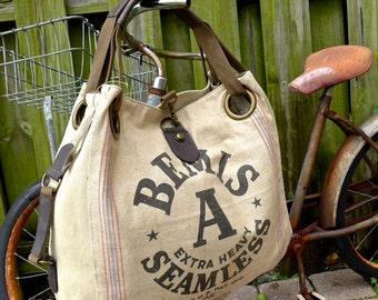 Bemis Seamless A  - Open Tote - Americana OOAK Canvas & Leather Tote... Selina Vaughan Studios