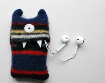Navy Blue Stripey Monster iPod Nano or Shuffle Cozy