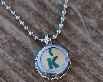 Letter K Necklace, Vintage Typewriter Key, Gift Idea For Her
