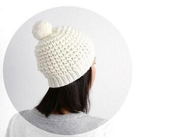 15% OFF SALE: Emma Merino PomPom Hat. Hand Knit Lace. Porcelain Cream. Romantic Vintage Snow Ski Style. Spring / Christmas / Winter.