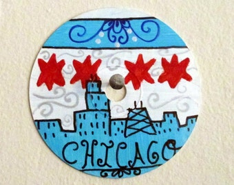 Chicago skyline, stars, flag painting - art on recycled CD, wall art, chi town, windy city, gift