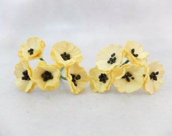 10 Mulberry poppy - yellow - paper flowers