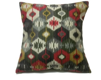 Decorative Pillow Cover Red Dark Green Brown Taupe Same Fabric Front/Back Toss Throw Accent 18x18 inch  x
