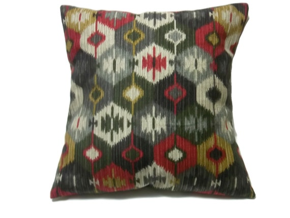 decorative pillow cover red dark green brown taupe same fabric. Black Bedroom Furniture Sets. Home Design Ideas