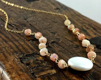 Pearl and Sunstone Gold Fill Necklace