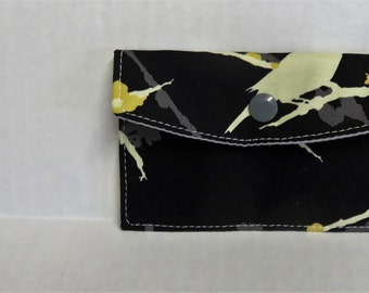 Mini Wallet - Gift Card Holder - Debit Credit Card Case -  Business Card Case  - Snap Closure - Aviary Bird on Black Fabric