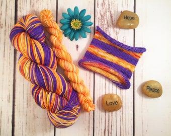 The Floor Is Lava: Hand-dyed self-striping sock yarn with heel/toe miniskein, 80/20 SW merino/nylon
