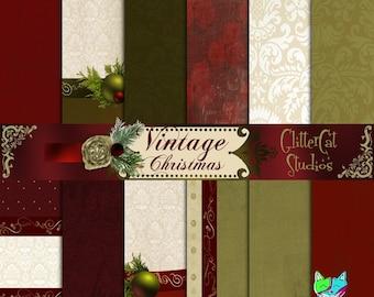 "Vintage Christmas 12"" x 12"" Digital Printable Scrapbook, Letter, Journal retro-designed Victorian Christmas Papers"