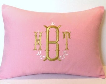 Custom Monogram Pillow Cover Nola font. Wedding Gift. Nursery Decor. Baby Shower Gift. Made to fit a 12x16 Decorative Throw Pillow Insert