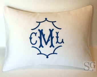 Pagoda Chinoiserie Monogram Pillow Cover. Made to fit a 12x16 Decorative Pillow. Wedding Gift. Baby Gift. Blue & White Home Decor.