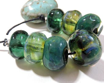 Handmade Lampwork Glass Borosilicate Beads SEA GREENS Two Sisters Designs 041017C