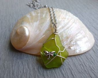 Handmade seaglass green pendant with dragonfly wire wrapped stainless chain