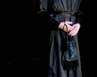 Victorian Black Crochet Reticule