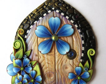 Blue Garden Fairy Door Pixie Portal Polymer Clay Miniature Door for Fairy Gardens and Home