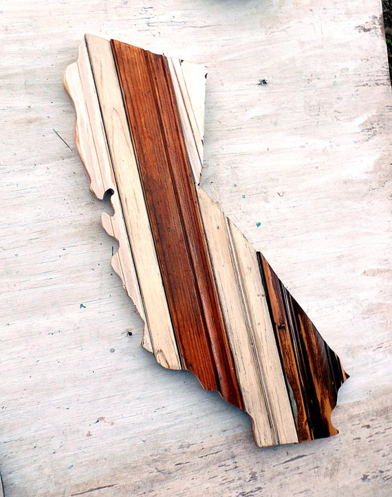 California wall art wood state outline wooden by woodenaht for Buy reclaimed wood los angeles