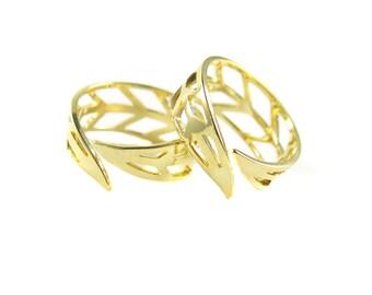 Gold Plated Adjustable Chevron Design Ring (2x) (K503-C)