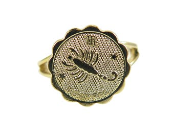 Vintage Gold Plated Astrological Sign Ring - SCORPIO - one size fits most / adjustable (1x) (J633-H)