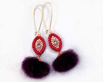 Fur Earrings, Boho Chic, Purple Mink , Tribal Style Gold Earrings, Real Mink Fur Earrings, FREE Shipping U.S.